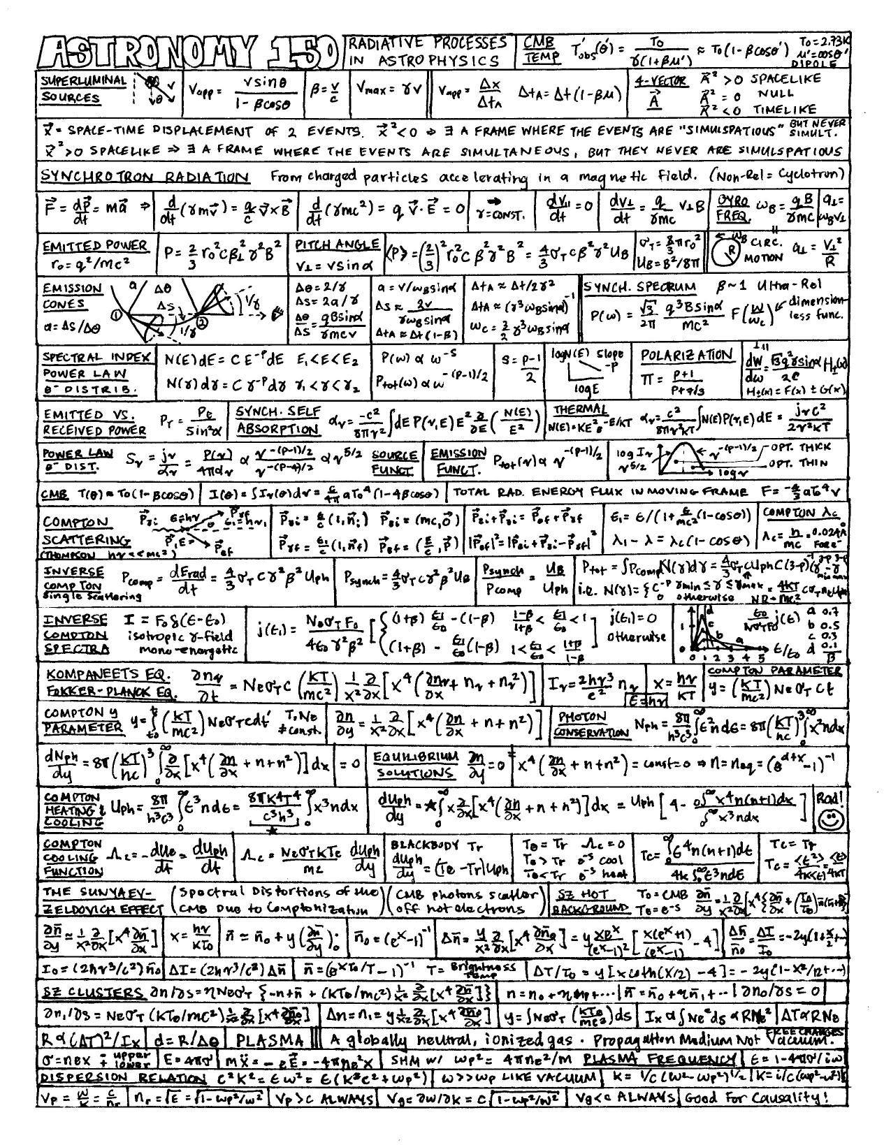 Astronomy Algebra Formulas Math Reference Sheet Math Cheat Sheet [ 1639 x 1275 Pixel ]