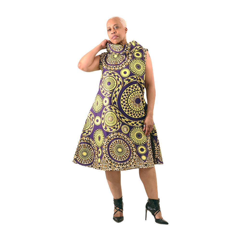 Prp/Yel Tribal Print Collar Dress: Plus - Women's Dresses-African Fashion | Africa Imports