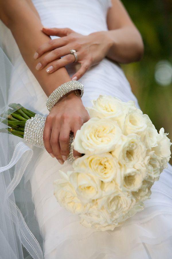 Cream Rose Bouquet With Rhinestone Wrap