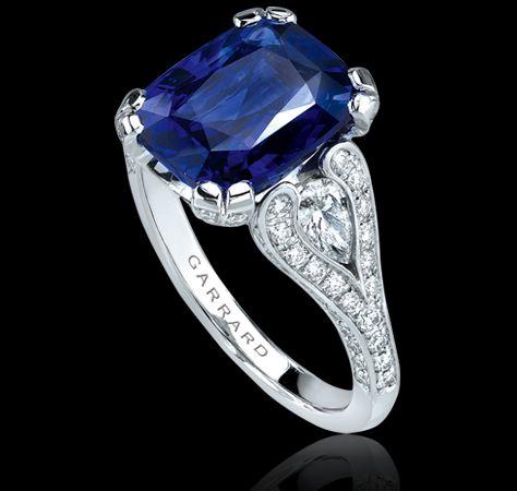 5.54 carat sapphire, diamond and platinum ring. Regal Collections Garrard