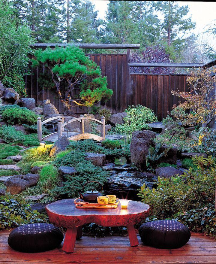 Japanese Style Backyard lush japanese style backyard with small bridge | creative