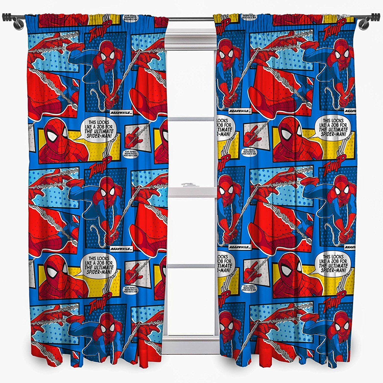 Spiderman Vorhänge im Comic Stil. Coole Dekoration für ein