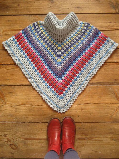 Cowl-neck Poncho :: ta-dah!   Ponchos & Tunics Crochet - Ponchos y ...