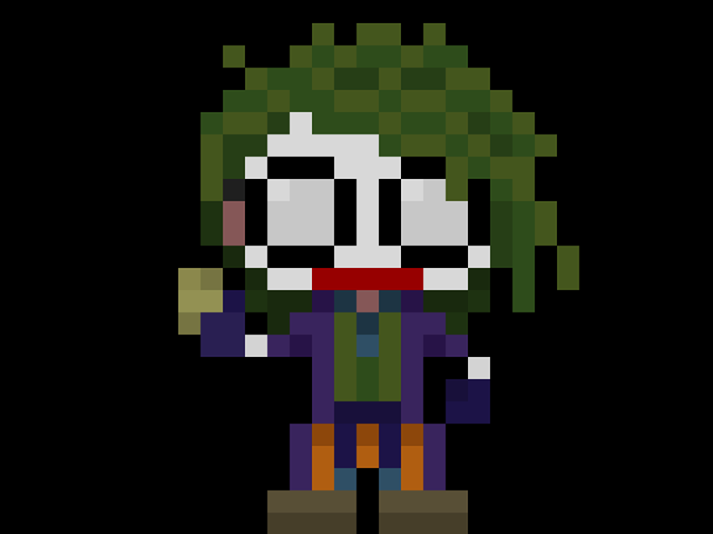 "Famous Characters In Pixel Art: The Joker ""Heath Ledger"