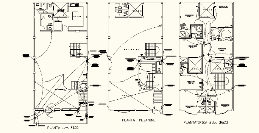 Commercial hotel project electrical layout drawing in dwg