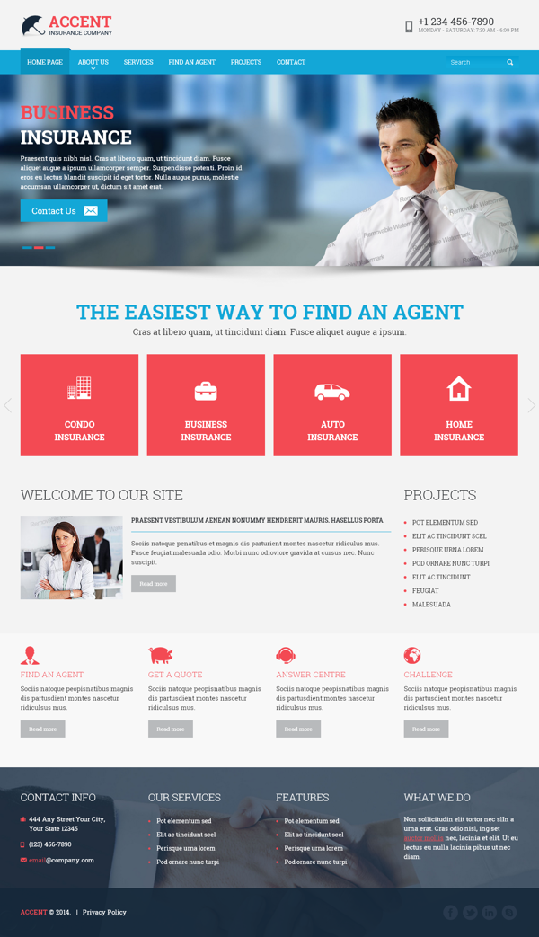 Insurance Company Html Template By Dynamic Template デザイン