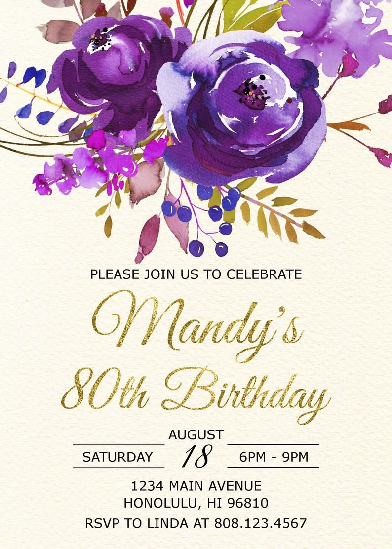 Personalized 80th Birthday Invite Purple Floral Birthday