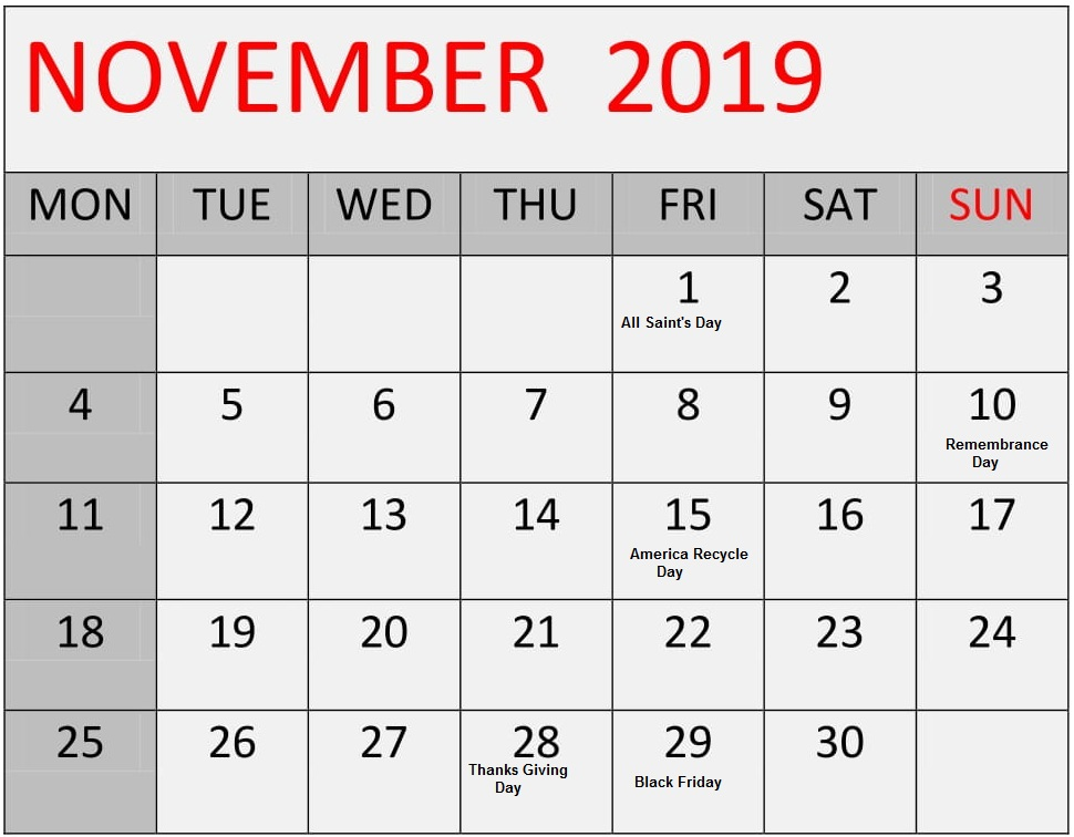 November 2019 Monthly Calendar With Holidays Word 2019