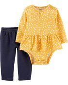 Photo of 2-Piece Floral Peplum Bodysuit Pant Set