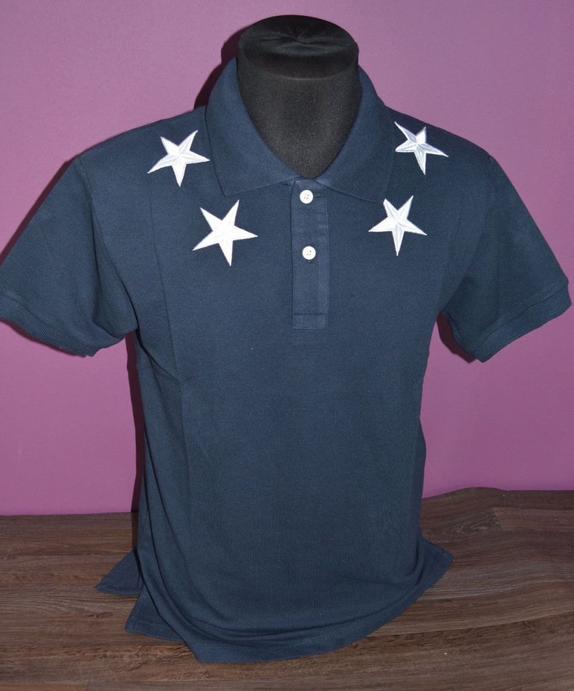 ON SALE GIVENCHY TEE POLO T-SHIRT NAVY BLUY SLIM FIT EMROIDERY STARS SIZE L   fashion  clothing  shoes  accessories  mensclothing  shirts (ebay link) 6f382ff0d900