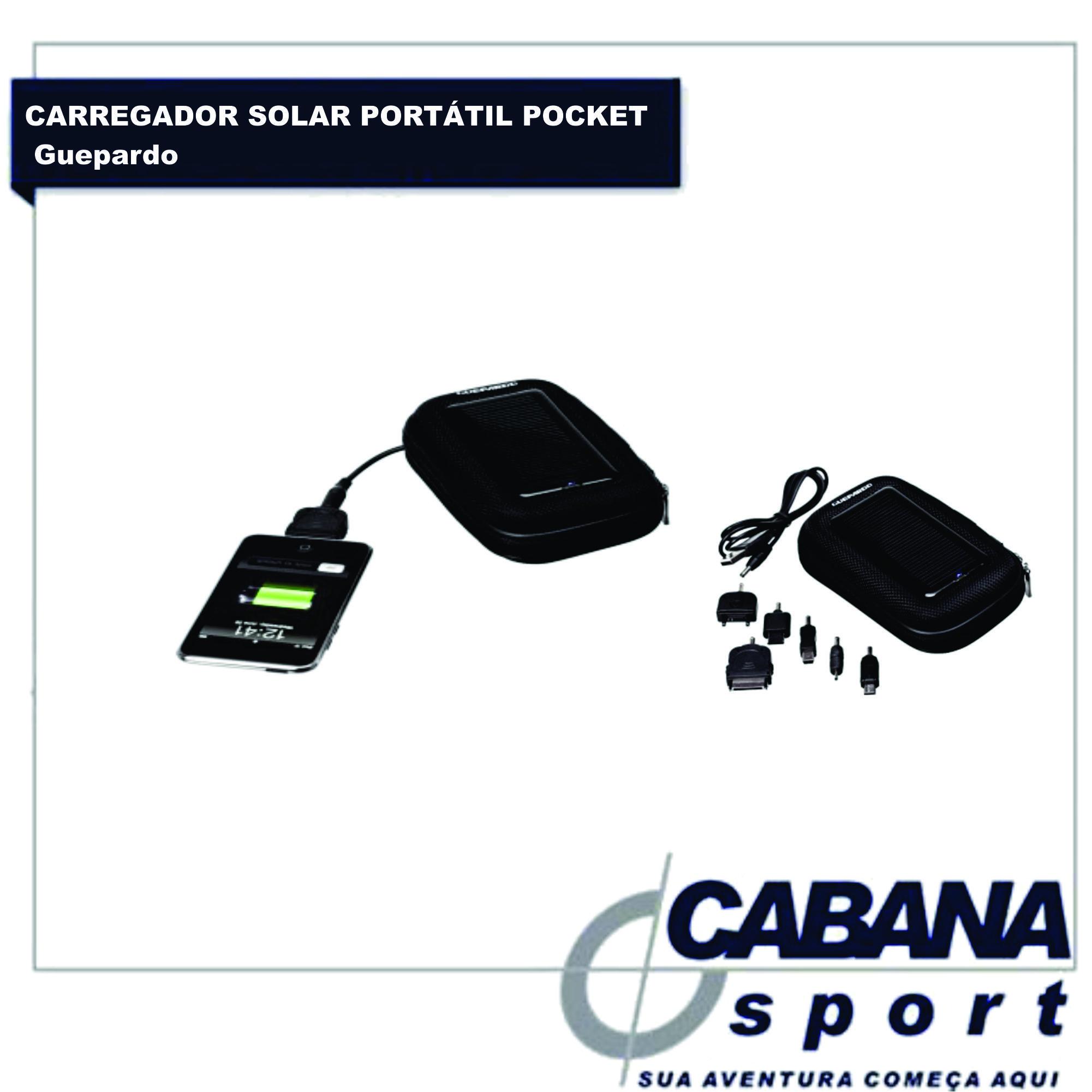 Na Cabana Sport, temos disponivel o carregador solar portátil Pocket da guepardo, prático e compacto, serve como estojo para trasporte de celulares. Os conectores inclusos são : Nokia, Iphone/Ipad/Ipod, Samsung, Motorola, LG e USB. Confira http://goo.gl/EKOSOE