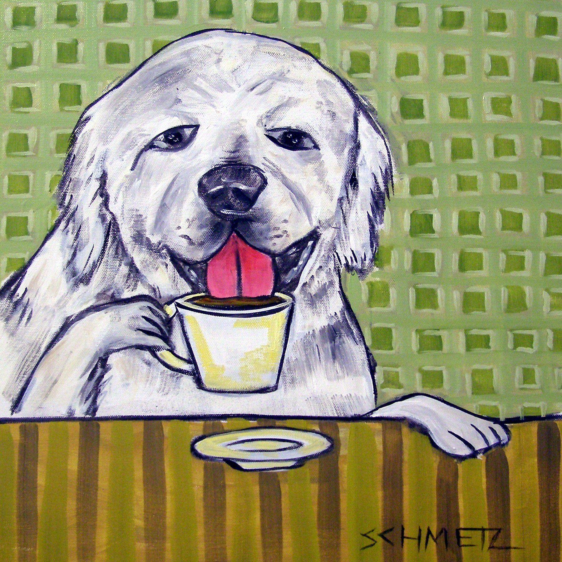 great pyrenees at the coffee shop cafe decor dog art tile coaster gift 425 x - Cork Cafe Decor