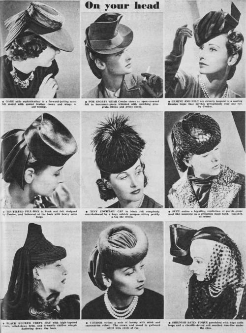 "thewartimewoman: "" Hats for winter 1940 """