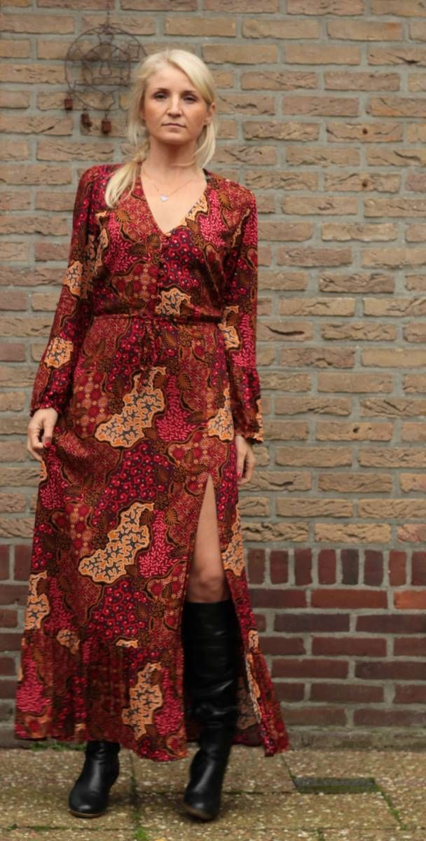 Bali-Batik-Muster Boho Kleid lang mit Volantsaum und hohem ...