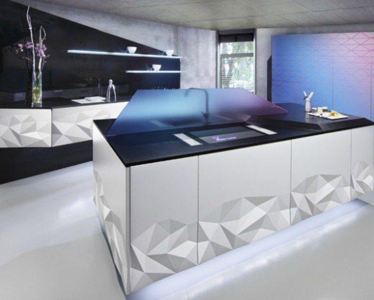 Futuristic Kitchen Design Inspired By Origami Digsdigs Kitchen Decor Modern Modern Kitchen Design Minimalist Kitchen Design