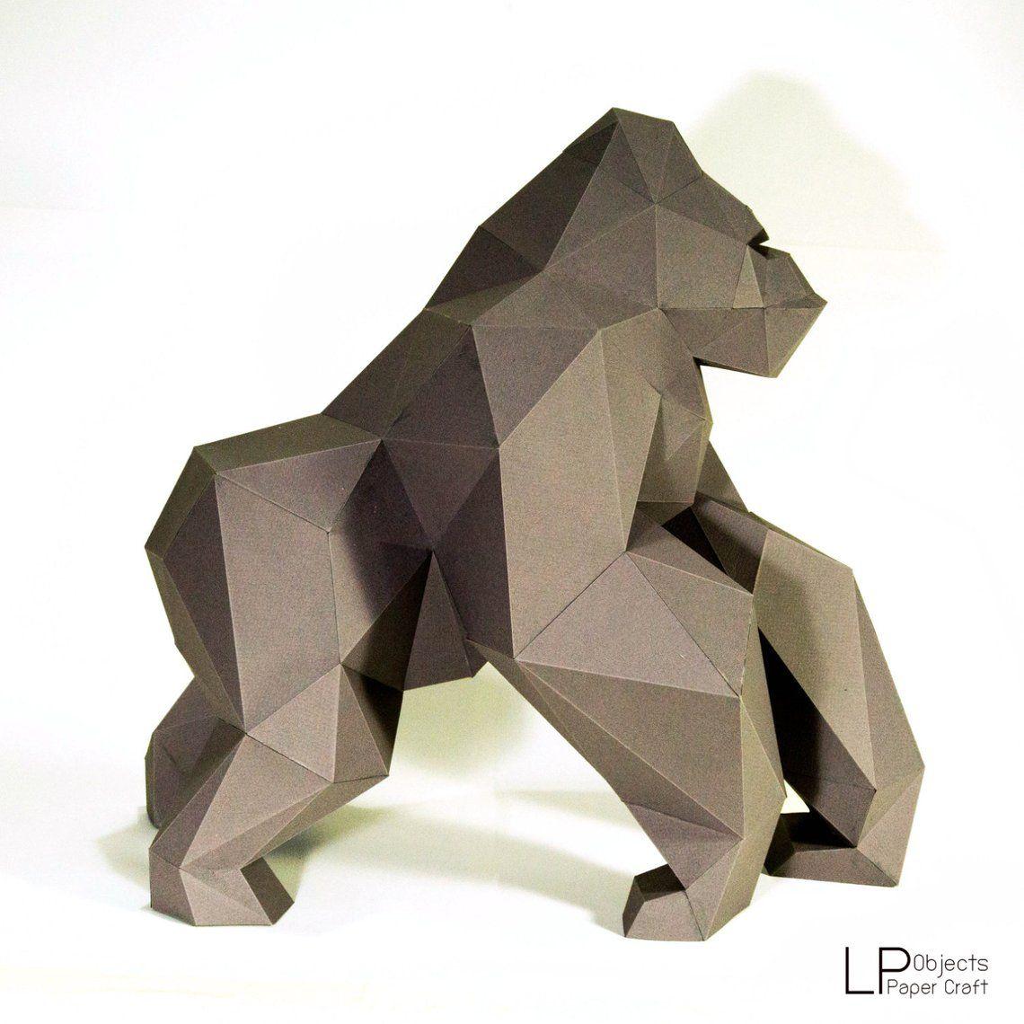 Gorilla King Kong Paper Craft Digital Template Origami Pdf Etsy In 2020 Paper Crafts Paper Sculpture King Kong