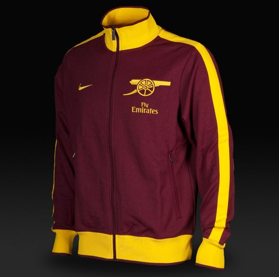 the best attitude 41bde e9e73 Arsenal N98 Nike Track Jacket - Red Currant / Midwest Gold ...