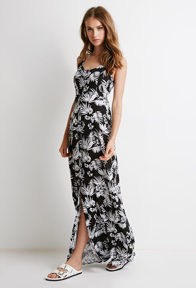 Cool awesome forever boho white black floral tropical print maxi