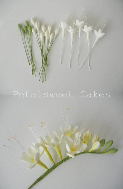 Work In Progress Freesia By Petalsweet Cakes Fondant Flower Tutorial Sugar Flowers Tutorial Gum Paste Flowers