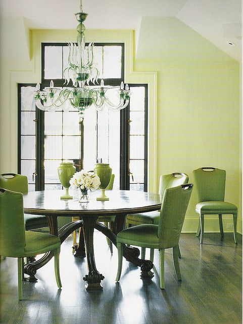 Green Dining Room I Am Just So Into The Round Table Right Now Love Lime Chairs It Contrast Well With Dark Mahogany Wood