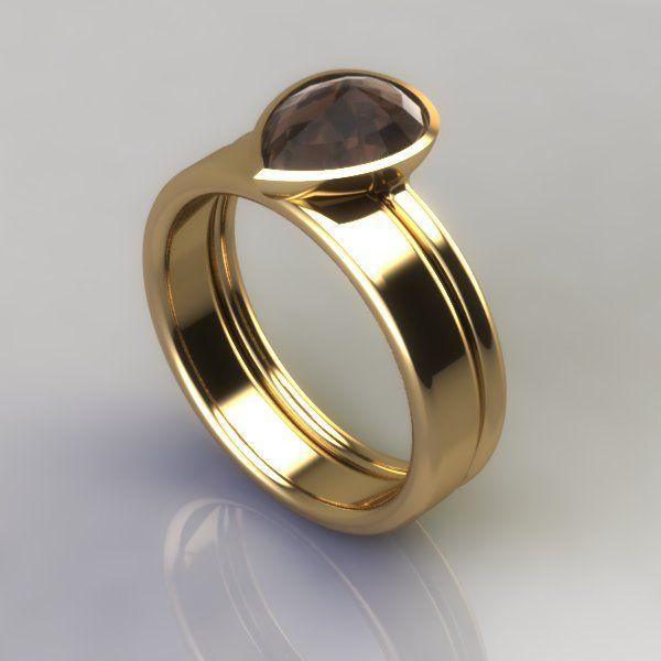 Rose-cut cognac diamond engagement ring and wedding band www.jespervelling.com