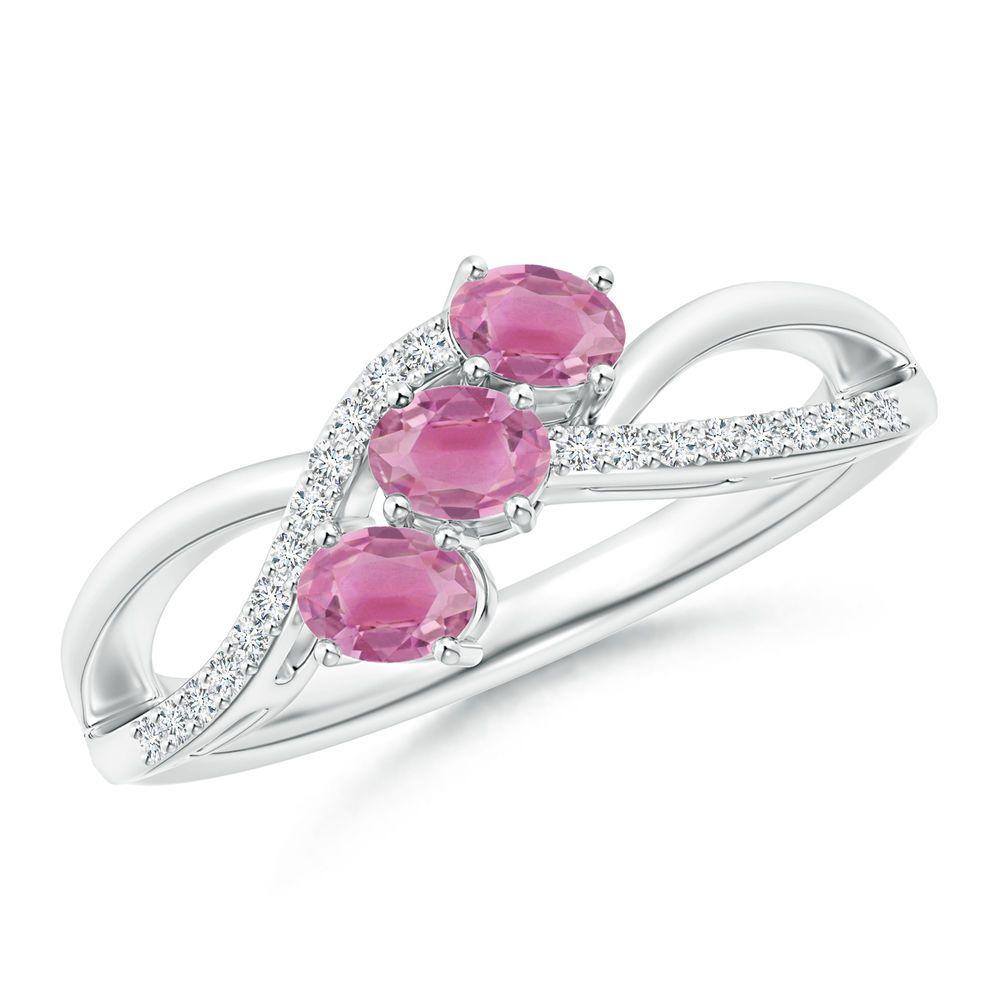 Angara 6mm Three Stone Pink Tourmaline Ring in White Gold DdaxYAUpOB