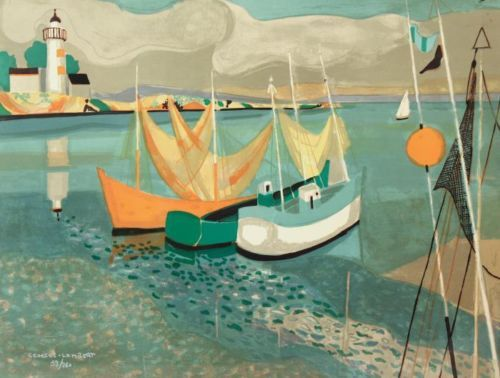 Georges-Lambert-French-Mid-c-Mod-Signed-Lithograph-of-Riviera-Fishing-Boats
