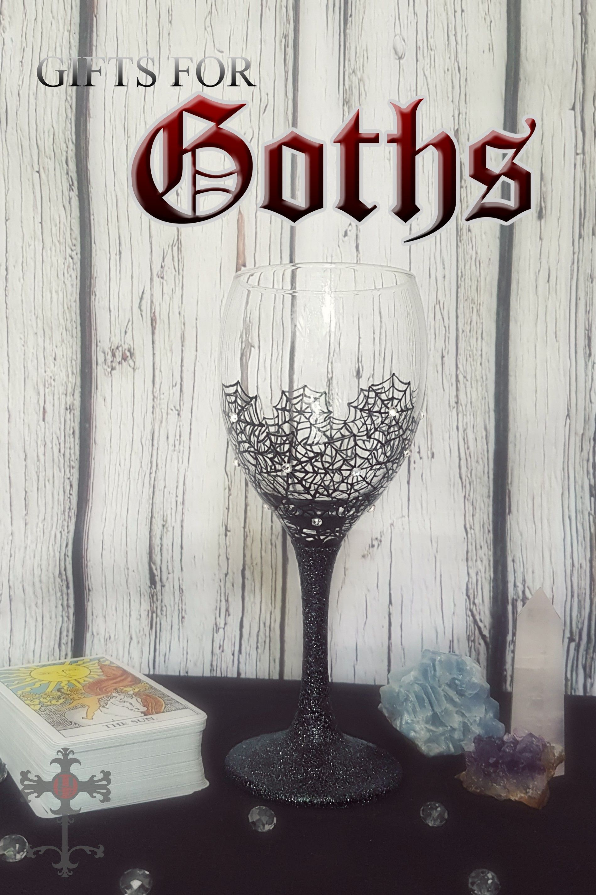 Goth Gifts, Hand Painted Wine Glass Hand painted wine