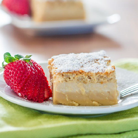 One very thin simple batter amazingly turns into a 3 layer cake as it bakes. It's magical!