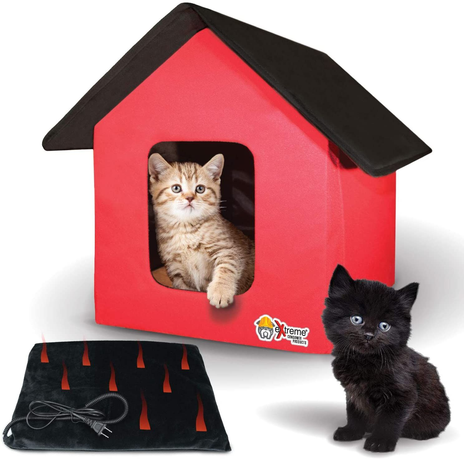 Extreme Consumer Products New 2020 Indoor Outdoor Red Cat House With Heated Cat Bed 2 Doors No Slip Feet And Heated Cat House Cat House Heated Cat Bed