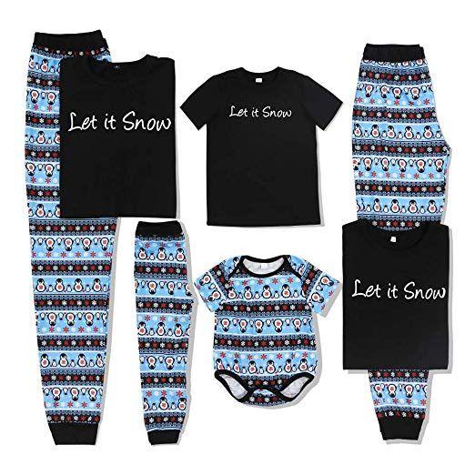 ca0bd0c59 PatPat Family Matching Christmas Pajamas Set Letter Print Top and Snow Penguin  Pants PJS Sleepwear for Kids Adult