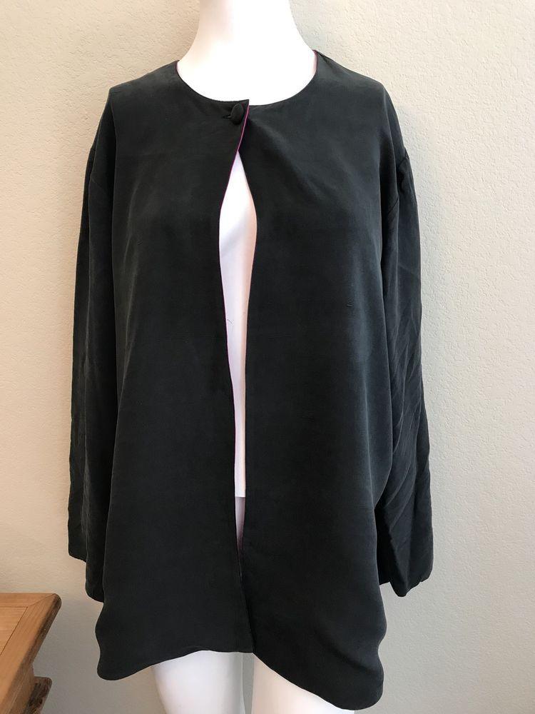 3cfdc70846b Galinda Ladies Size Large Blazer Pink Black Silk Reversible Long Sleeve  Jacket. Reversible Long Sleeve Blazer. This reversible blazer is in  beautiful ...