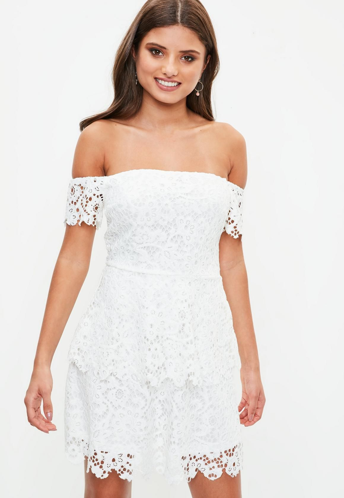 d61dbce8c709 Missguided - White Lace Bardot Double Layer Skater Dress | dresses ...