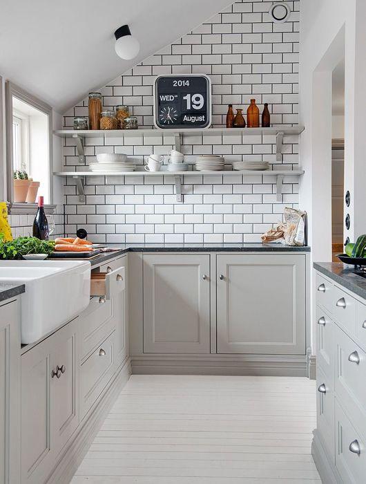 cuisine brique blanches | Cuisine | Pinterest | Cuisine scandinave ...