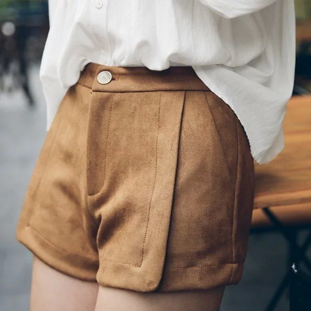 Suede Leather Shorts