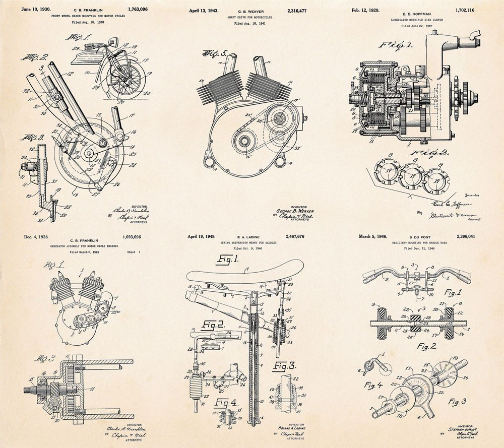 Indian Motorcycles Parts Gift Ideas For Motorcycle Riders Patent Harleydavidson This Diagram Provides A Detail Art Poster Vintage Patentartprints