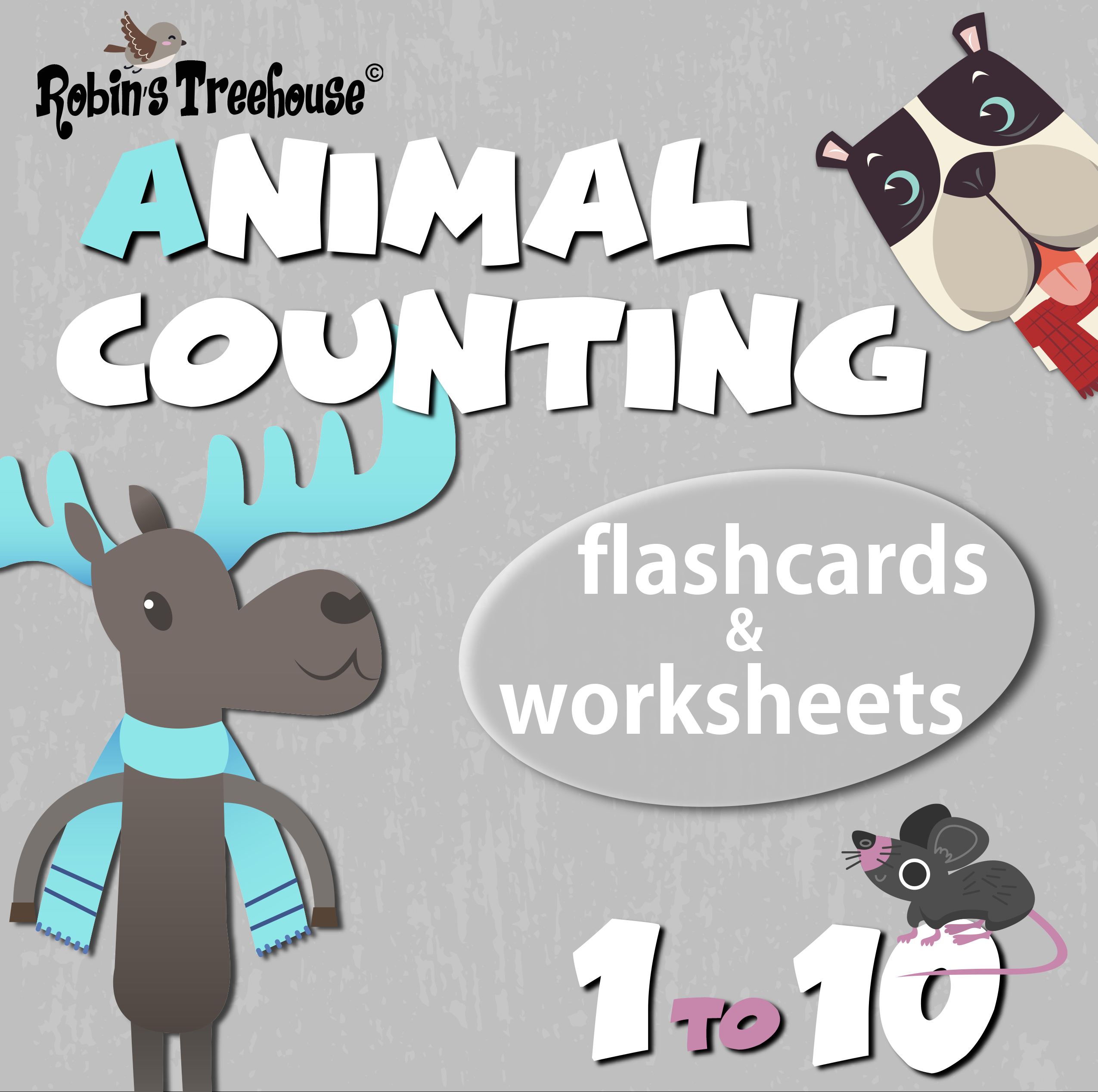 Animal Number Flashcards 1
