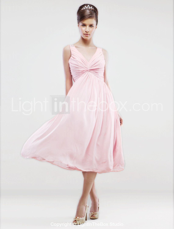 Lanting bride tealength chiffon bridesmaid dress aline vneck