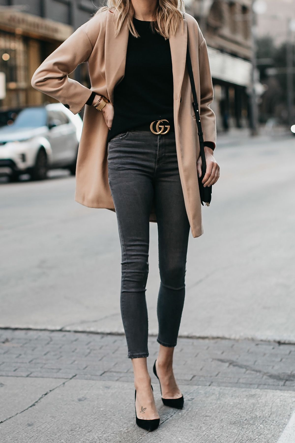 330eae8b6ba1 Topshop Camel Coat Black Sweater Grey Skinny Jeans Gucci Marmont Belt  Christian Louboutin Black Pumps Fashion Jackson Dallas Blogger Fashion  Blogger Street ...