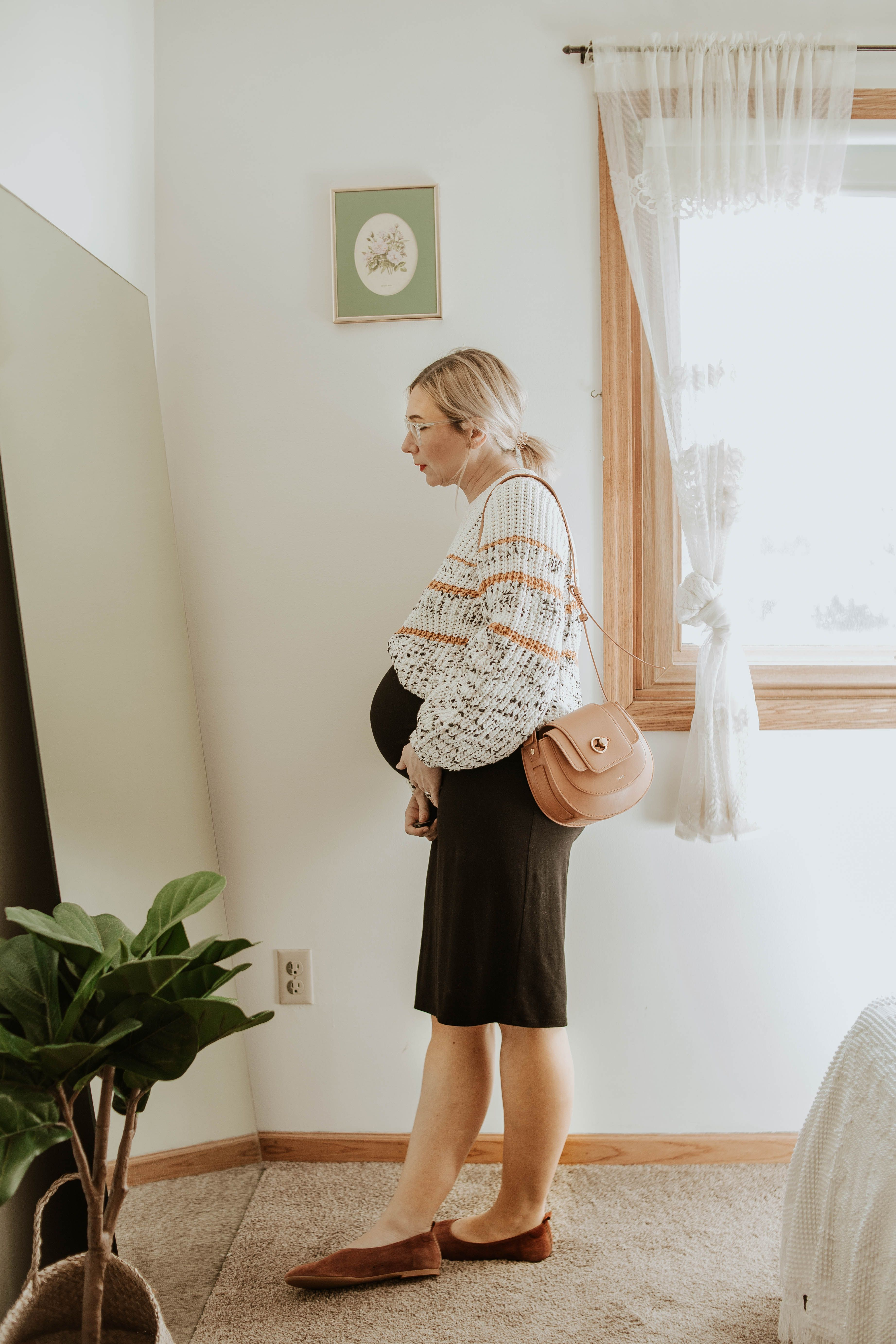 Karin Emily   sezane sweater, storq dress, maternity dress, everlane suede day flat, friday by