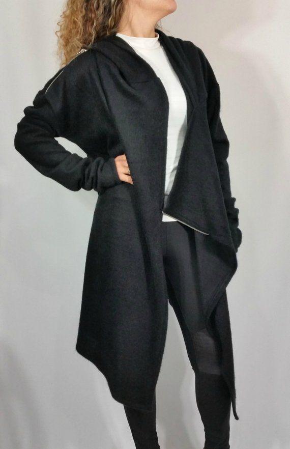 bd7215b51 Black Asymmetric Hooded Coat Loose Extravagant Cape Coat Long Sleeve ...