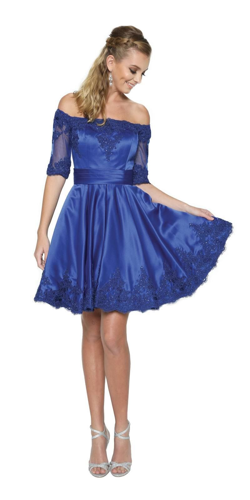 b7ede96ffa8a8 Royal Blue Homecoming Short Dress Off-Shoulder with Appliques in ...