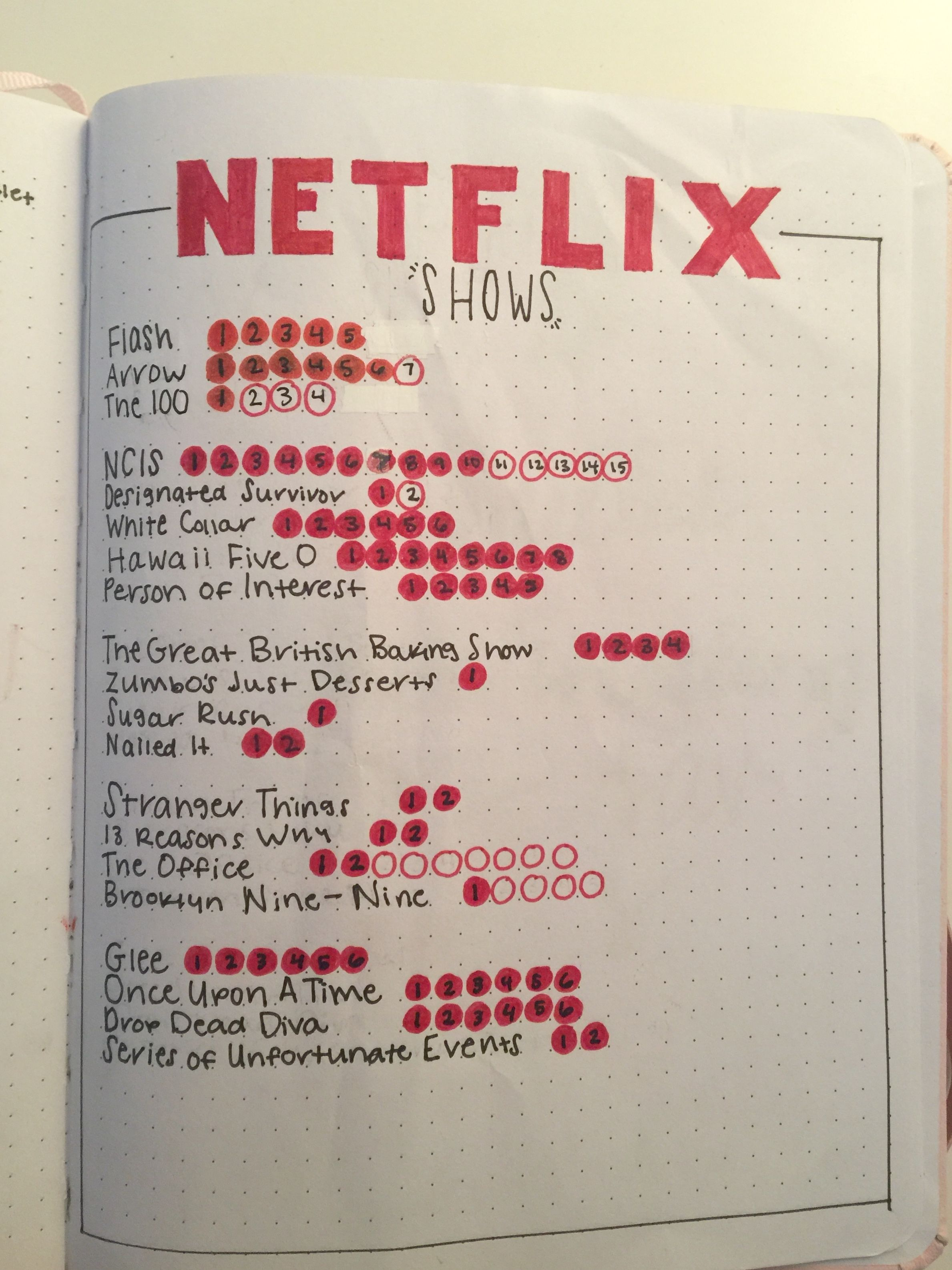 Tv tracker, bullet journal collection #netflixmovies