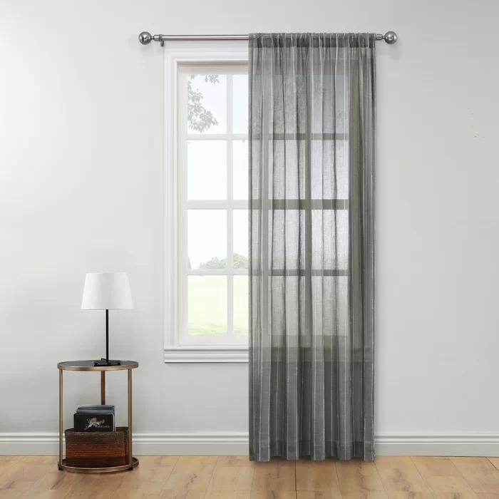 Gabbard Semi Sheer Rod Pocket Single Curtain Panel In 2020 Panel Curtains Curtains Sheer Curtain Panels