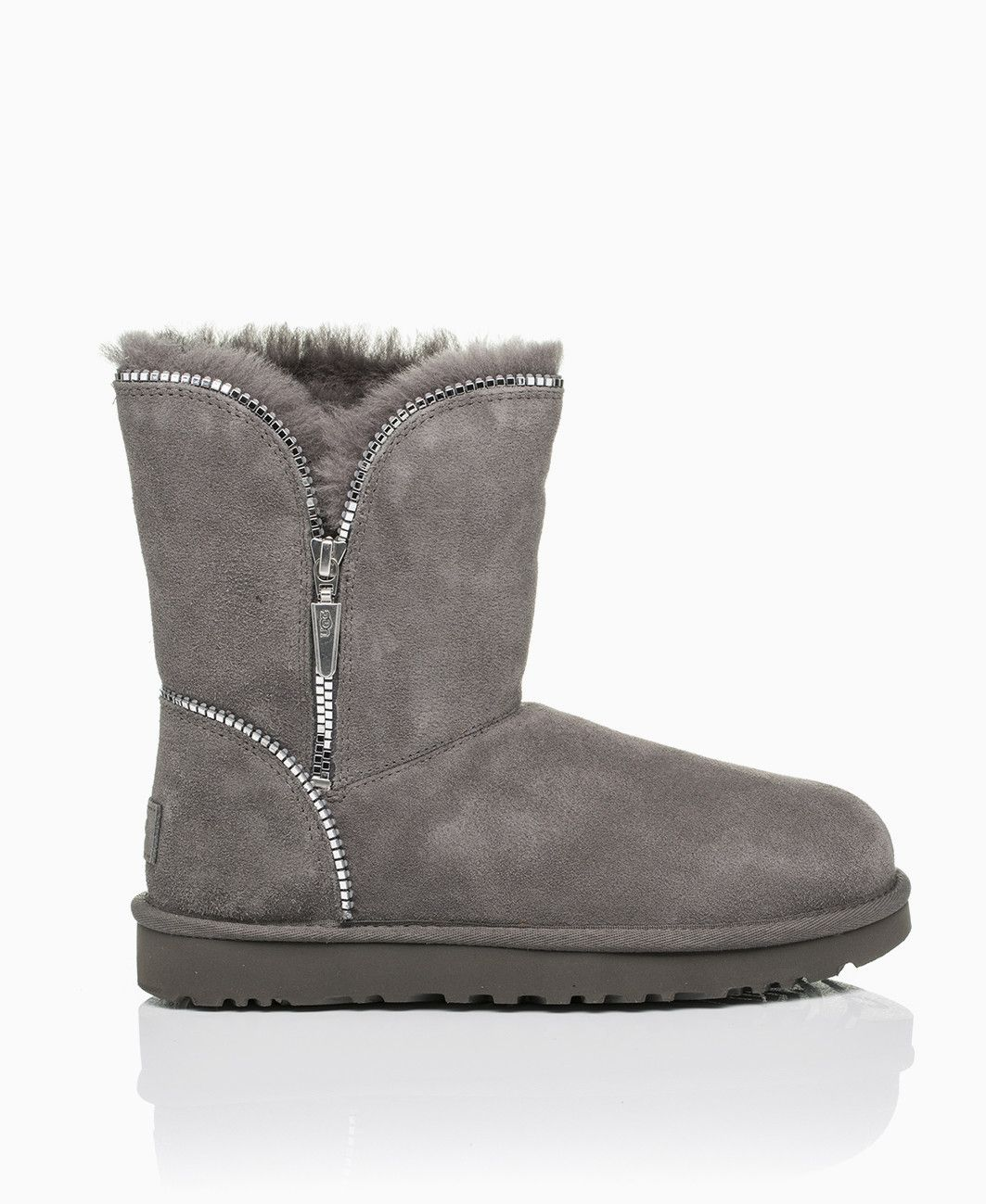 Ugg Florence Zipper Detail Boots Grey Shoes