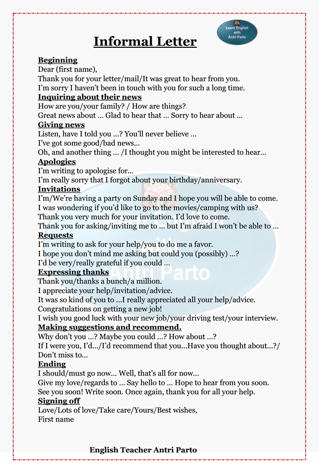 Informal Letter Writing Pinterest Learn English English