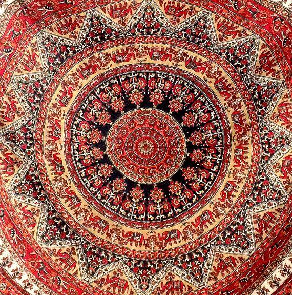 Grand mandala tissu hippie couvre lit mur par fabricsarmaya sur etsy wall paper en 2019 - Grand mandala ...