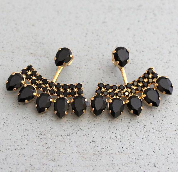 0d260a056 Ear Jacket Earrings, Black Gold Ear Jackets, Swarovski Crystal ...
