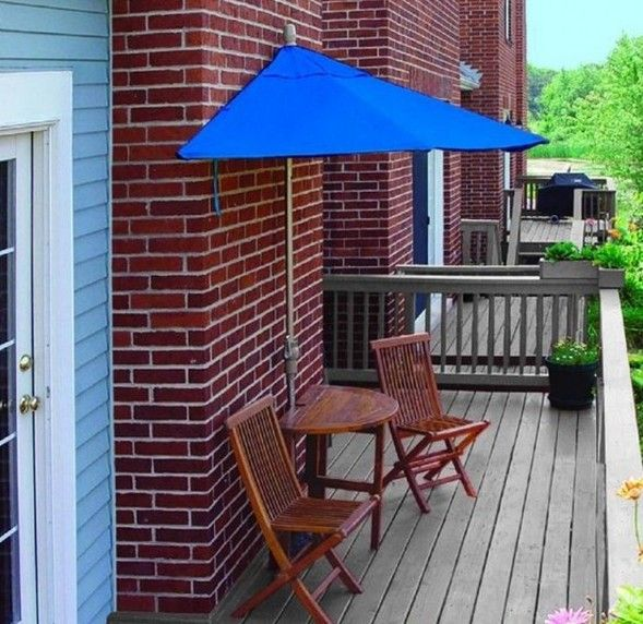 Patio Furniture For Small Patios Part - 44: 1/2 Umbrella For Balconies...clever! Color PowderChampagne ColorPatio  Furniture ...
