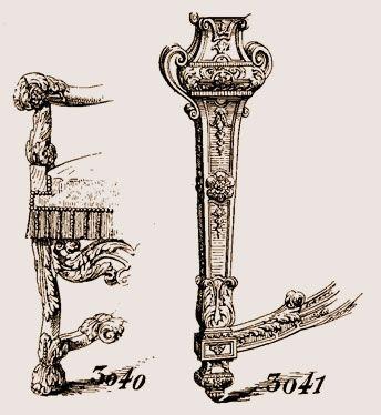 Fig 3040 Pied de fauteuil, époque Louis XIII ; la traverse et l